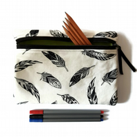 Pencil case, zipper pouch, feather cosmetic bag