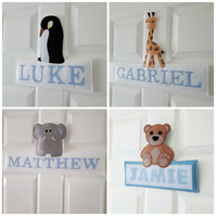 Personalised Kid's nursery Door sign, Wall decor, animal name plaque
