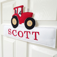 Personalised name sign, name plaque, kids room, Tractor door sign