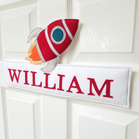 Personalised name sign, name plaque, kids room, Rocket door sign