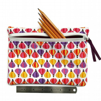 Pencil case  zipper pouch cosmetic bag Hot air balloon