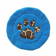 Blue & Giraffe  padded Cat Mat (or small dog mat)