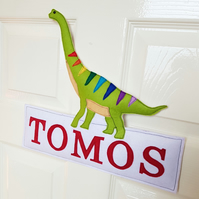 Personalised name sign, name plaque, kids room, Dinosaur door sign