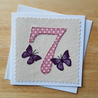 Appliqued age 7 Birthday card, 7th anniversary card, textile butterfly card