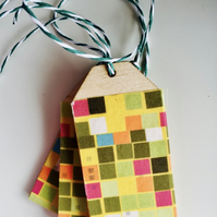 So Square Fabric Covered Birch Ply Gift Tag