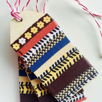 Floral Stripe Fabric covered Birch Ply Gift Tag