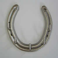 LUCKY Real Steel Horseshoe Key hook dog lead tack hanging Rack in pewter silver