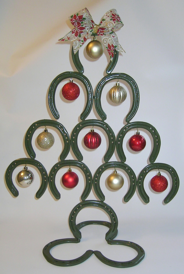 Pre used horseshoes welded together to make a c folksy for Christmas tree items list