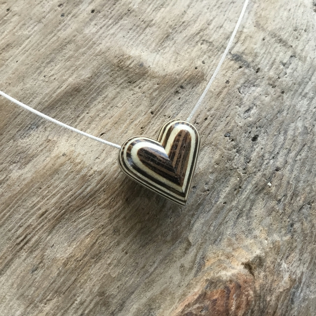 Heart Pendant  Necklace from turned Veneers
