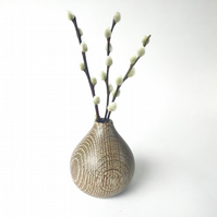 Fumed and Limed Oak Vase with Pussy Willow