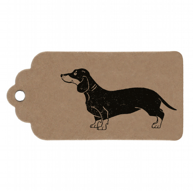 5 Tag Pack, Sausage Dog Handmade Kraft Gift Tags