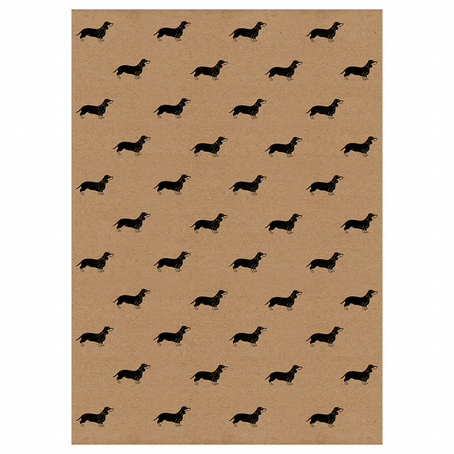 Sausage Dog Wrapping Paper Sheet. Kraft Gift Wrap with Dachshunds
