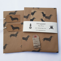 Sausage Dog Gift Wrap Set: 2 Dachshund Sheets, 2 Gift Tags, Stickers, Twine