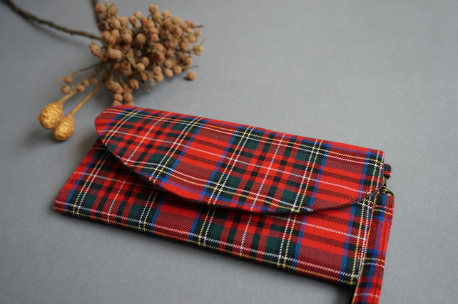 Red Plaid Women's Wallet - Red Check Handmade Organizer Purse