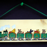 Funky Childrens Handpainted Wooden Name Train Wall Door Hanging Plaque Rainbow