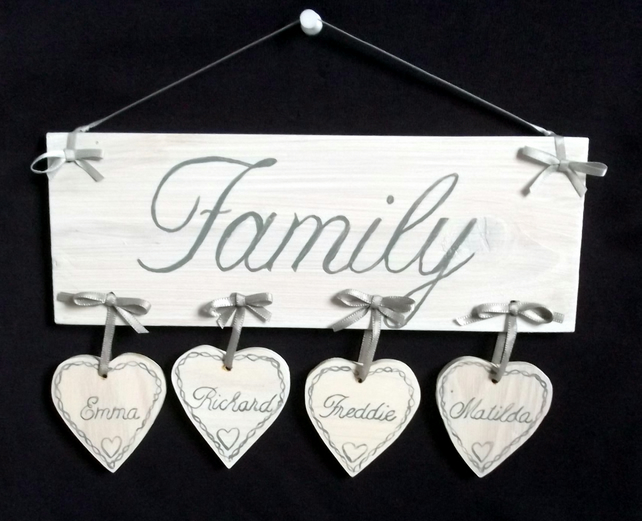 Shabby Chic handpainted Personalised Real Wooden Family Plaque With Names
