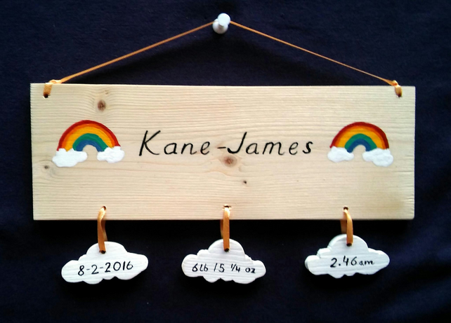 New Baby's Birth Keepsake Gift Plaque Baby Boy Baby Girl Rainbows Clouds Cute