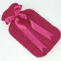 2 Litre Hot Water Bottle with Hand Knitted Cover.