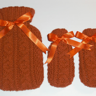 Mini Hot Water Bottle and Hand Warmer set with Hand Knitted Covers.