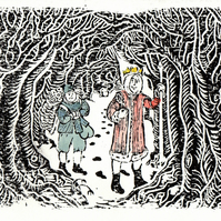 Single Christmas Card: Wenceslas in the Wood