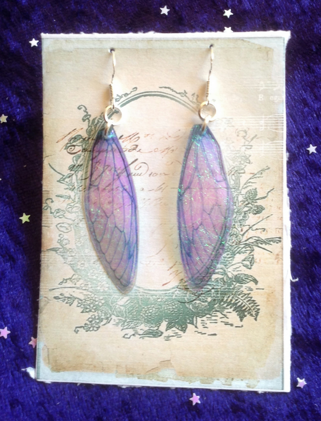 Blue Iridescent Fairy Wing Sterling silver Earrings