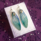 Deep Blue Ammonite Shimmering Large Fairy Wing Sterling Silver Earrings