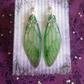 Forest Green Star Iridescent Large Fairy Wing Sterling Silver Earrings