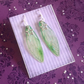Light Green Star Iridescent Large Fairy Wing Sterling Silver Earrings