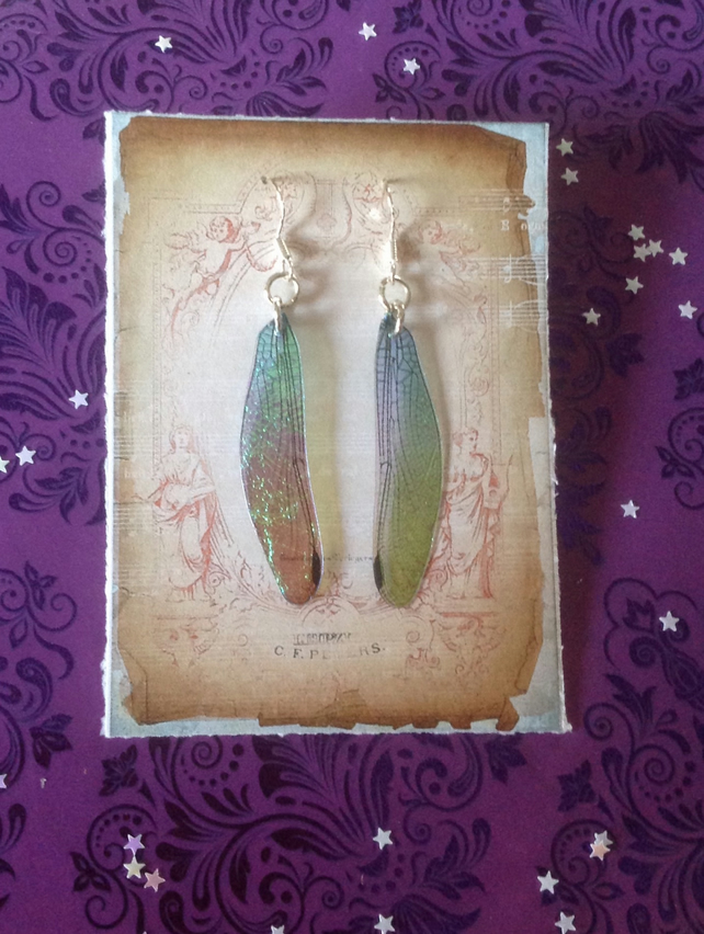 Faux Dragonfly Fairy Wing Iridescent Sterling Silver Earrings - Blue & Green