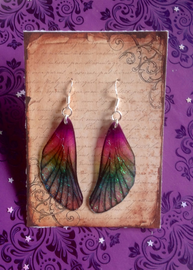 Purple Iridescent Medium Mackintosh Style Fairy Wing Sterling Silver Earrings