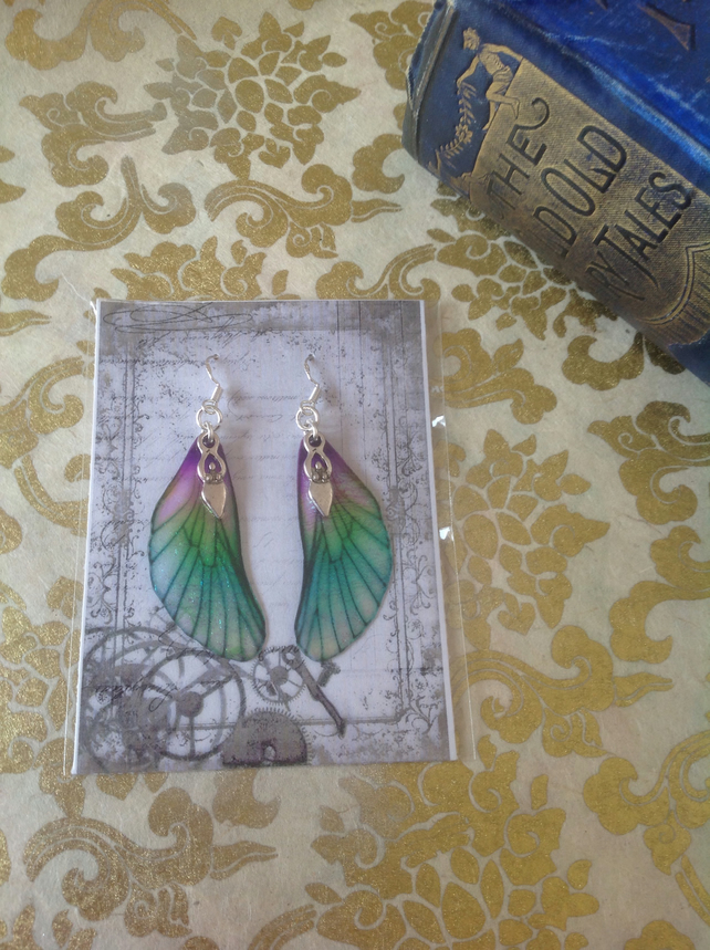 Purple and Green Fairy Wing Goddess Sterling Silver Earrings