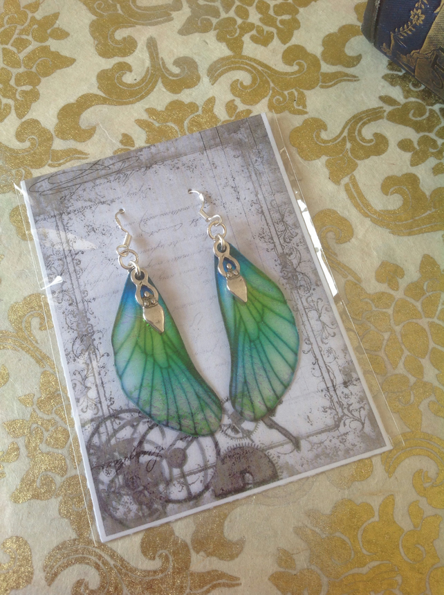 Blue and Green Goddess Fairy Wing Sterling Silver Earrings