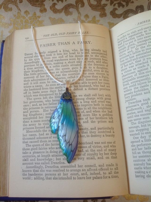 Blue and Green Double Fairy Wing Sterling Silver Necklace Fairy Ball Sparkle