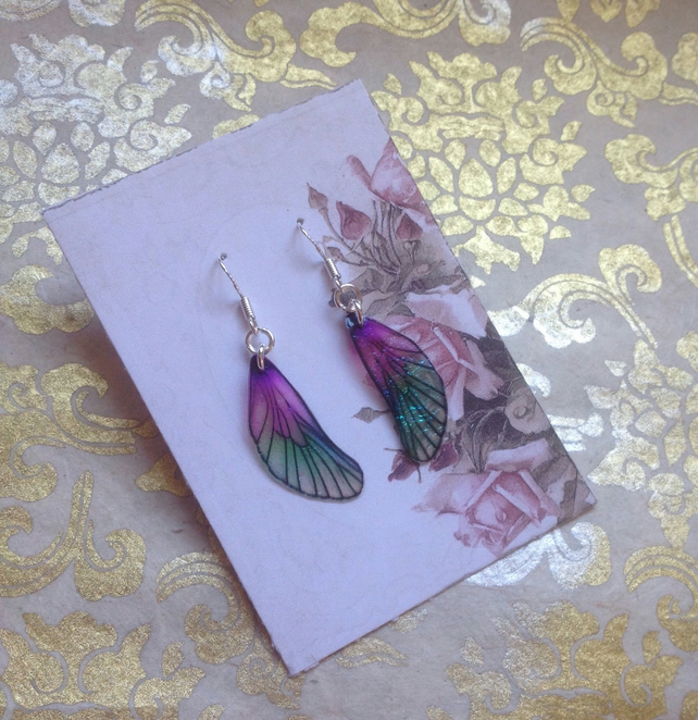 Dainty Purple and Green Iridescent Sterling Silver Fairy Wing Earrings