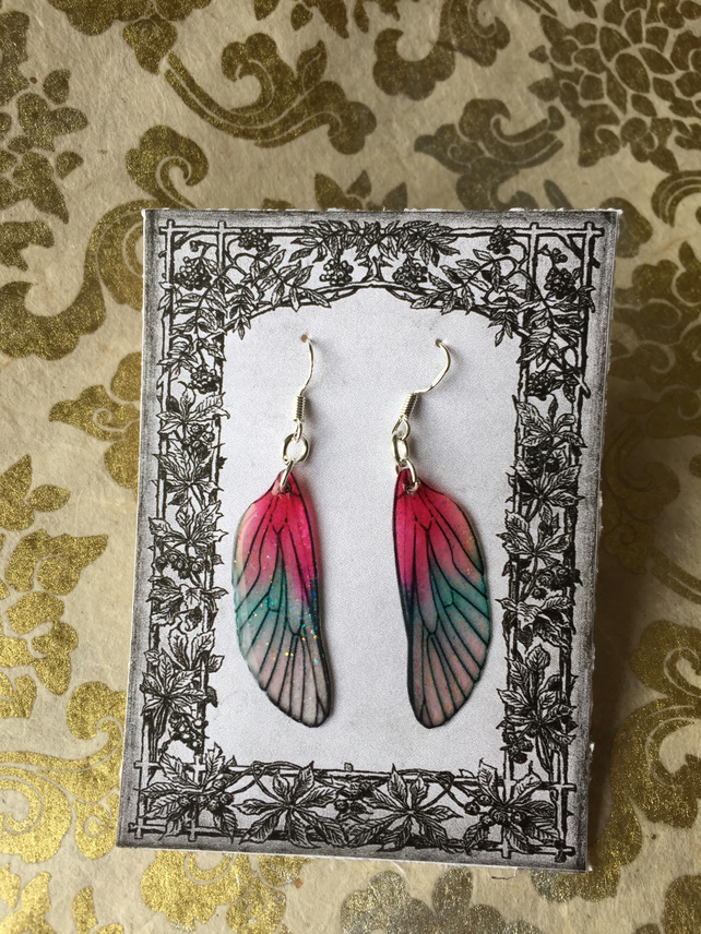 Sparkling Rose Pink and Green Iridescent Sterling Silver Fairy Wing Earrings