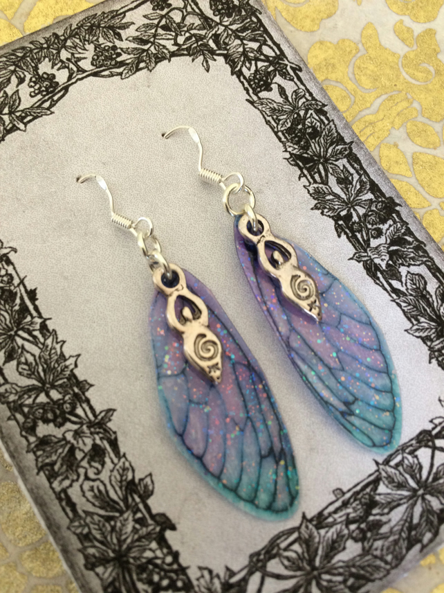 Sparkling Purple and Blue Goddess Fairy Wing Earrings