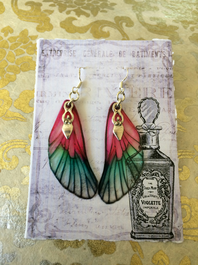 Pretty Pink Fairy Wing Goddess Sterling Silver Earrings