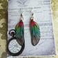 Sparkling Pink and Green Glitter Sterling Silver Fairy Wing Earrings