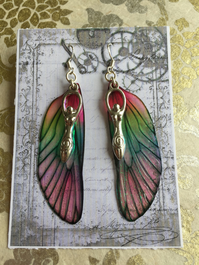Large Pink and Green Goddess Fairy Wing Sterling Silver Earrings