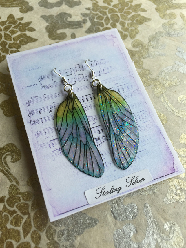 Pretty Pastel Glitter Sterling Silver Fairy Wing Earrings