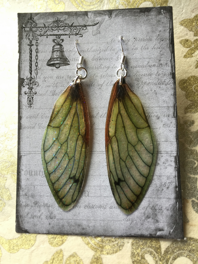 Brown Glittery Fairy Wing Sterling Silver Earrings