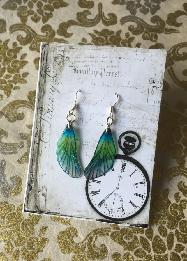 Dainty Blue and Green Shiny Glitter Sterling Silver Fairy Wing Earrings