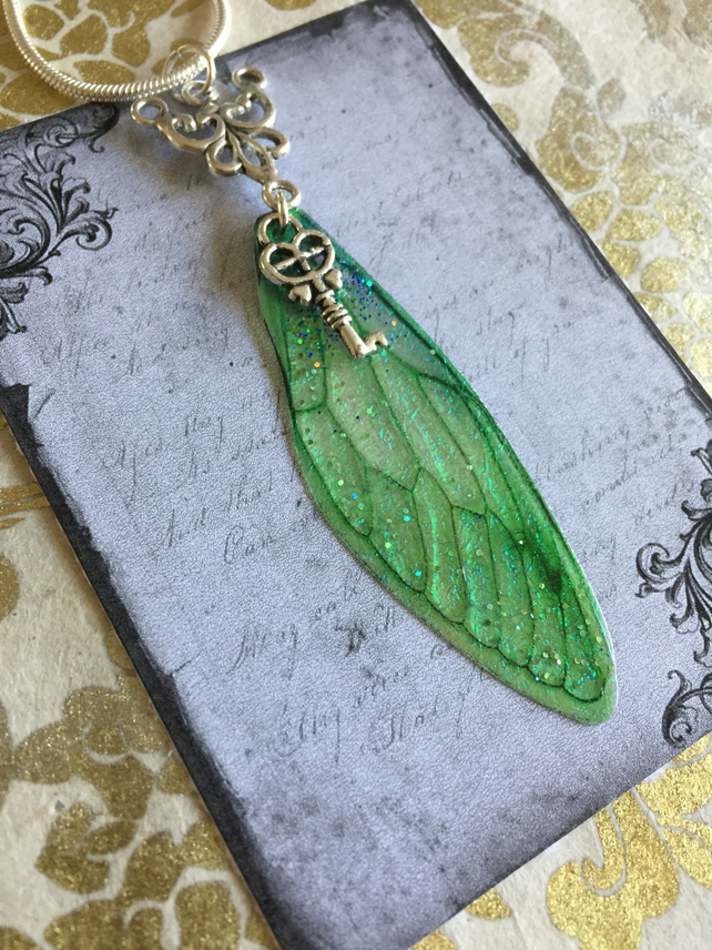 Sparkling Green Sterling Silver Key Fairy Wing Necklace