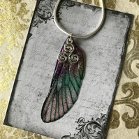 Purple and Green Glitter Triskelion Sterling Silver Fairy Wing Necklace Pendant