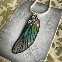 Purple and green sparkling sterling silver triskelion fairy wing necklace