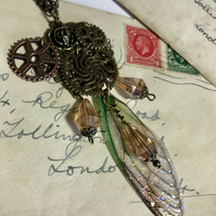 Steampunk Green Fairy Wing Antique Bronze Necklace