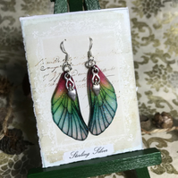 Pink and Green Goddess Faity Wing Sterling Silver Earrings