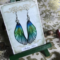 Blue and Green Sparkling Fairy Wing Sterling Silver Earrings