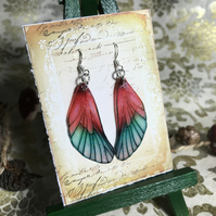 Glittery Red and Green Fairy Wing Sterling Silver Earrings