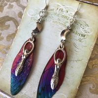 Crescent Moon Goddess  Fairy Wing Earrings Sterling Silver